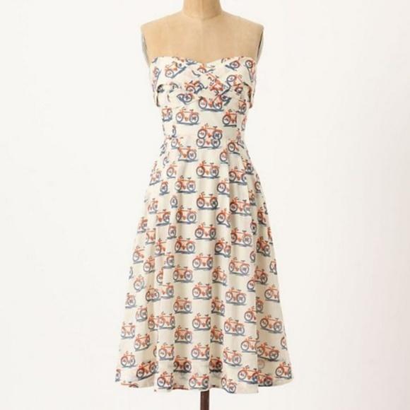Anthropologie Dresses & Skirts - Vintage Anthro Bike Lane Dress - Bicycle Print